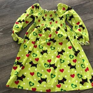Girls dress- green with dog print.
